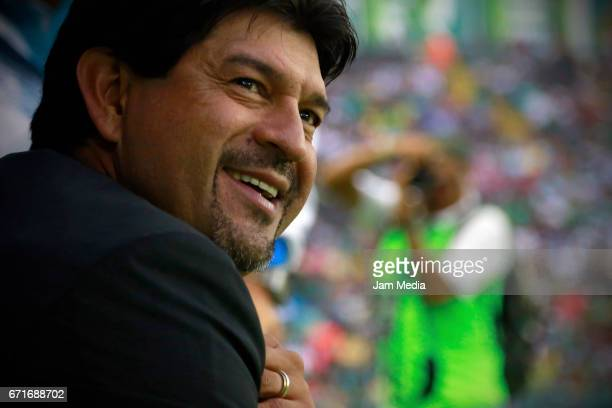 Jose Cardozo coach of Puebla smiles during the 15th round match between Leon and Puebla as part of the Torneo Clausura 2017 Liga MX at Nou Camp...