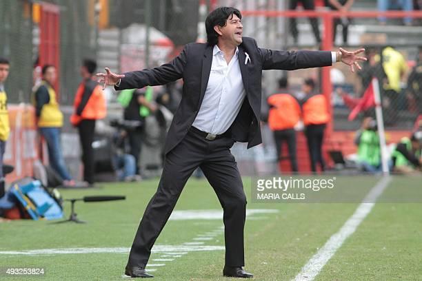 Jose Cardozo coach of Toluca gestures during the Mexican Apertura tournament football match against Queretaro at the Nemesio Diez stadium on October...