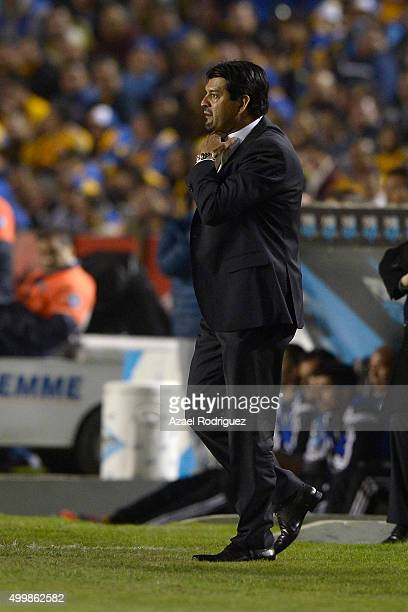 Jose Cardozo coach of Toluca gestures during the semifinals first leg match between Tigres UANL and Toluca as part of the Apertura 2015 Liga MX at...
