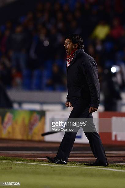 Jose Cardozo coach of Toluca gives instructions to his players during a match between Monterrey and Toluca as part of 9th round Clausura 2015 Liga MX...