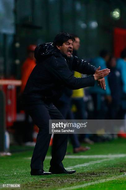 Jose Cardozo coach of Toluca gives instructions to his players during the 8th round match between Toluca and Pachuca as part of the Clausura 2016...