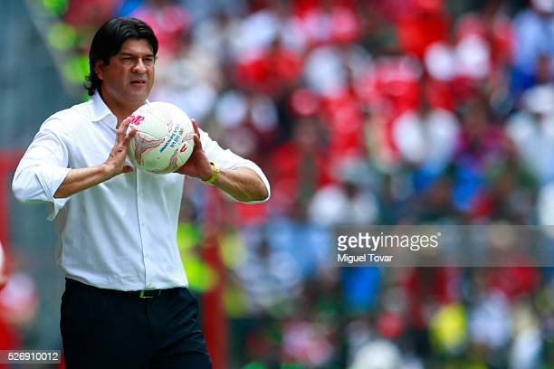 Jose Cardozo coach of Toluca holds the ball during the 16th round match between Toluca and Cruz Azul as part of the Clausura 2016 Liga MX at Nemesio...