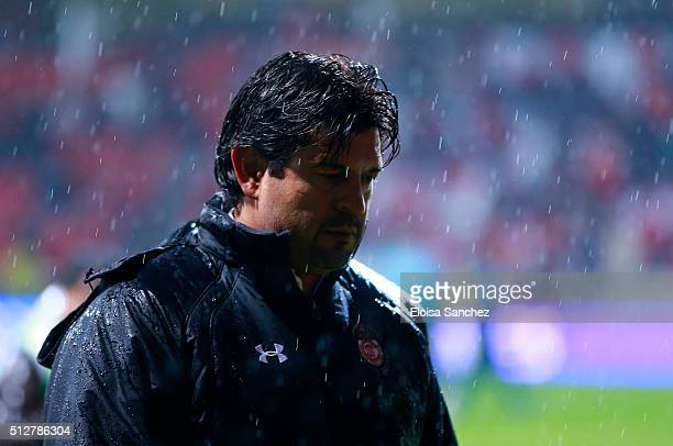 Jose Cardozo Coach of Toluca reacts after the 8th round match between Toluca and Pachuca as part of the Clausura 2016 Liga MX at Nemesio Diez Stadium...