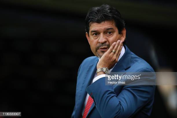 Jose Cardozo, Head Coach of Chivas gestures during the quarterfinals match between America and Chivas as part of the Copa MX Clausura 2019 at Azteca...