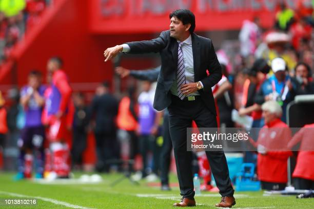 Jose Cardozo Head Coach of Chivas gestures during the third round match between Toluca and Chivas as part of the Torneo Apertura 2018 Liga MX at...