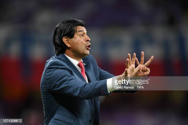 Jose Cardozo, Manager of CD Guadalajara gives his team instructions during the FIFA Club World Cup UAE 2018 5th Place Match between ES Tunis and CD...