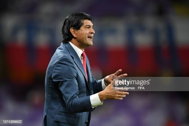 Jose Cardozo, Manager of CD Guadalajara looks on during the FIFA Club World Cup UAE 2018 5th Place Match between ES Tunis and CD Guadalajara at Hazza...