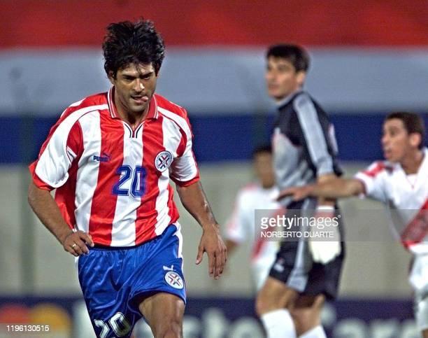 Jose Cardozo of Paraguay celebrates after making the third goal for his team against Peru, 15 November 2000, in Asuncion, Paraguay. Jose Cardozo de...