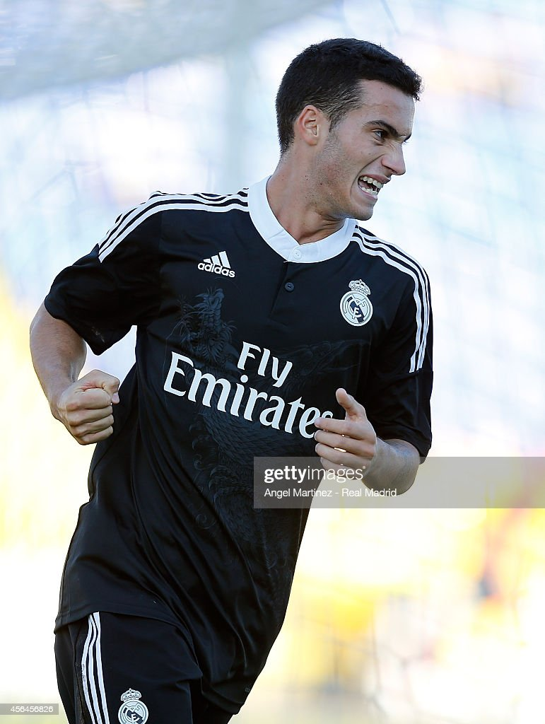 Jose Carlos Lazo of Real Madrid Academy celebrates after scoring his team's third goal during the UEFA Youth Champions League match between PFC Ludogorets Razgrad and Real Madrid at Georgi Asparuhov Stadion on October 1, 2014 in Sofia, Bulgaria.