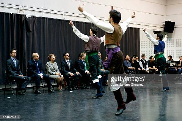 Jose Carlos Martinez Jose Ignacio Wert Queen Sofia of Spain and Antonio Najarro visit the Spanish National Ballet at Spanish National Ballet sede on...