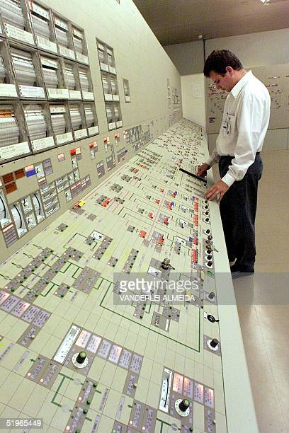 Jose Carlos Santos control engineer at a nuclear power plant looks at the equipment 11 May 2000 in Itaorna near Rio de Janeiro Jose Carlos Santos...