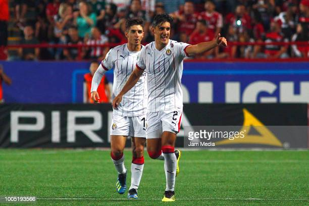 Jose Carlos Van Rankin of Chivas celebrates after scoring the first goal of this team during the 1st round match between Tijuana and Chivas as part...
