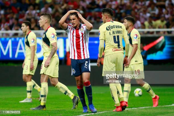 Jose Carlos Van Rankin of Chivas reacts during the 11th round match between Chivas and America as part of the Torneo Clausura 2019 Liga MX at Akron...