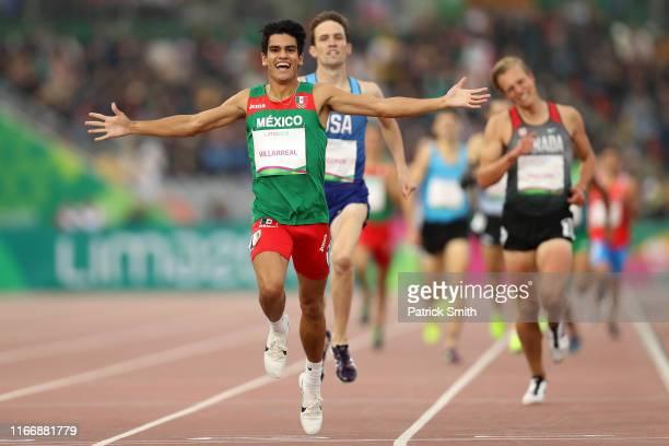 Jose Carlos Villareal Peinado of Mexico wins in Men's 1500m Final on Day 13 of Lima 2019 Pan American Games at Athletics Stadium of Villa Deportiva...