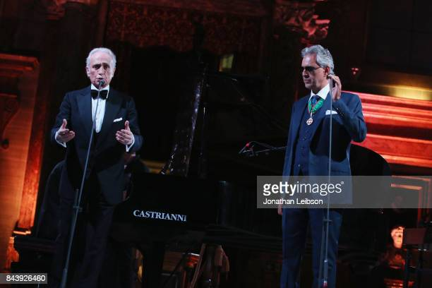 Jose Carreras and Andrea Bocelli perform during the Dinner and Entertainment at Palazzo Colonna as part of the 2017 Celebrity Fight Night in Italy...