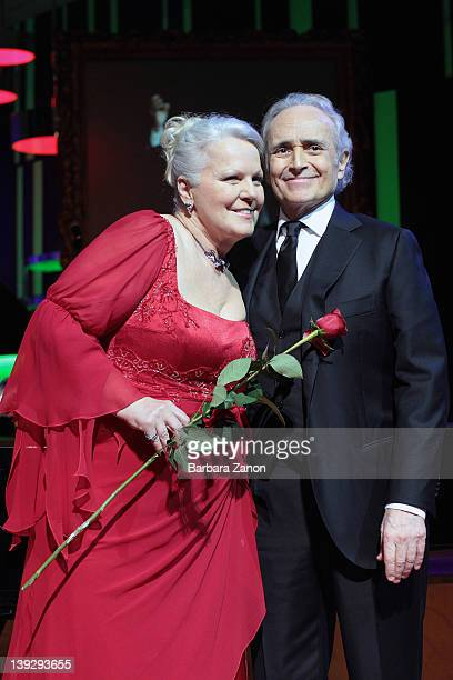 Jose Carreras and Katia Ricciarelli attends the exclusive Ballo della Cavalchina at Fenice Theatre on February 18, 2012 in Venice, Italy.