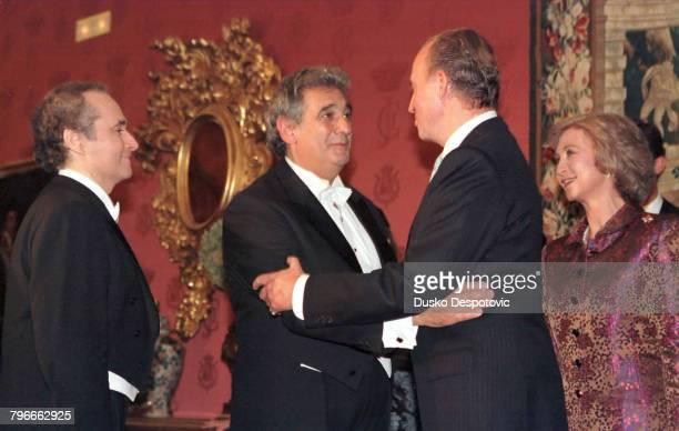 Jose Carreras Placido Domingo congratulate King Juan Carlos in the presence of Queen Sophie