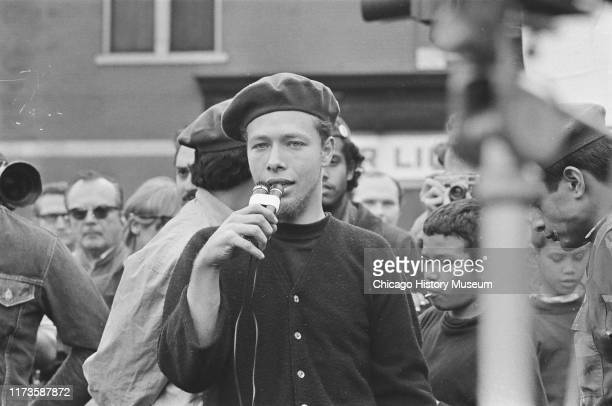 Jose Cha Cha Jimenez speaking at The Young Lords march from Lincoln Park area to Humboldt Park Chicago Illinois October 11 1969