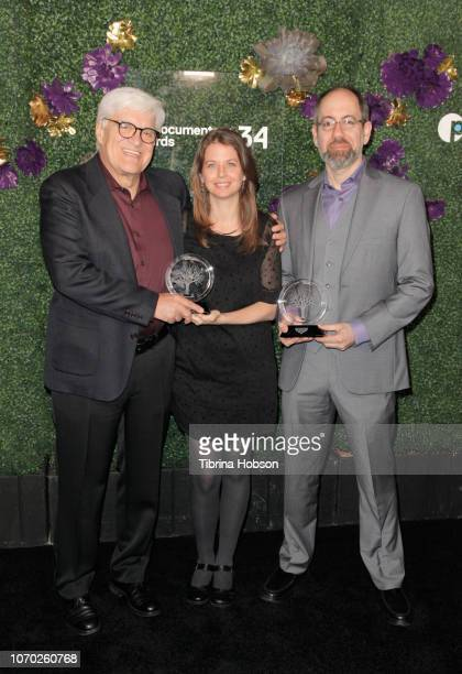Jose 'Chato' Galante Almudena Carracedo Robert Bahar winners of the Pare Lorentz award for 'The Silence of Others' attend the 2018 IDA Documentary...