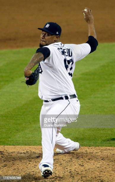 Jose Cisnero of the Detroit Tigers pitches against the Kansas City Royals during the ninth inning at Comerica Park on May 11 in Detroit, Michigan....