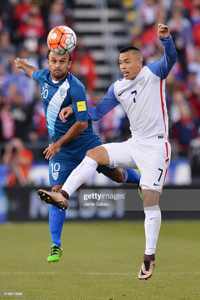 Jose Contreras #10 of Guatemala and Bobby Wood #7 of the United States Men's National Team battle for control of the ball in the first half during the FIFA 2018 World Cup qualifier on March 29, 2016 at MAPFRE Stadium in Columbus, Ohio.