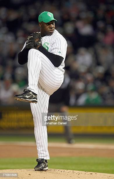 Jose Contreras of the Chicago White Sox delivers the pitch against the Los Angeles Angels of Anaheim on September 14 2007 at US Cellular Field in...