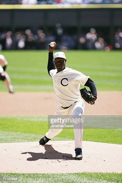 Jose Contreras of the Chicago White Sox pitches against the Chicago Cubs on May 21 2006 at US Cellular Field in Chicago Illinois The Cubs defeated...