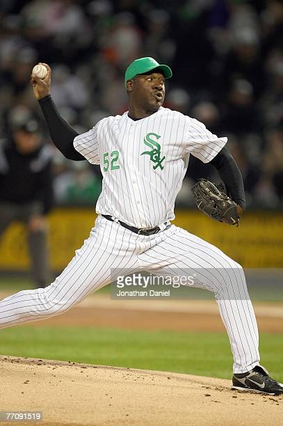 Jose Contreras of the Chicago White Sox pitches against the Los Angeles Angels of Anaheim on September 14 2007 at US Cellular Field in Chicago...
