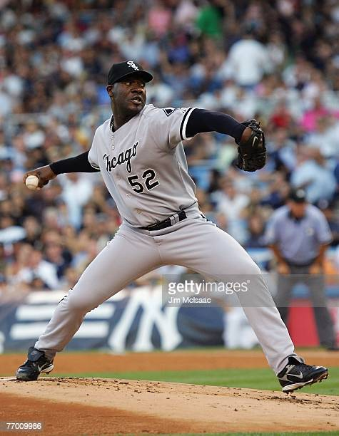 Jose Contreras of the Chicago White Sox pitches against the New York Yankees on July 31 2007 at Yankee Stadium in the Bronx borough of New York New...