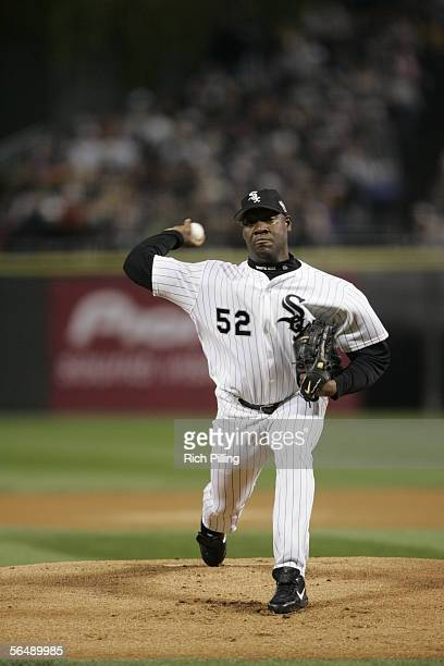 Jose Contreras of the Chicago White Sox pitches during Game One of the Major League Baseball World Series against the Houston Astros at US Cellular...
