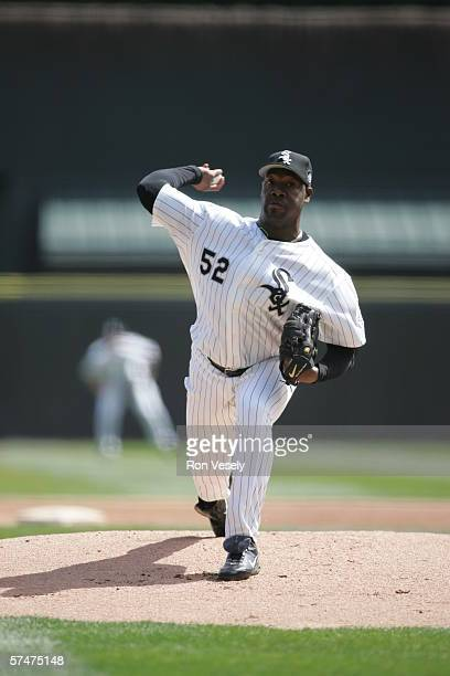 Jose Contreras of the Chicago White Sox pitches during the game against the Cleveland Indians at US Cellular Field in Chicago Illinois on April 5...