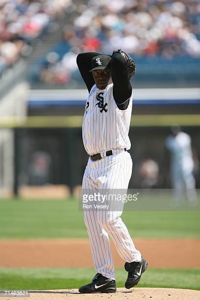 Jose Contreras of the Chicago White Sox pitches during the game against the Baltimore Orioles at US Cellular Field in Chicago Illinois on July 4 2006...