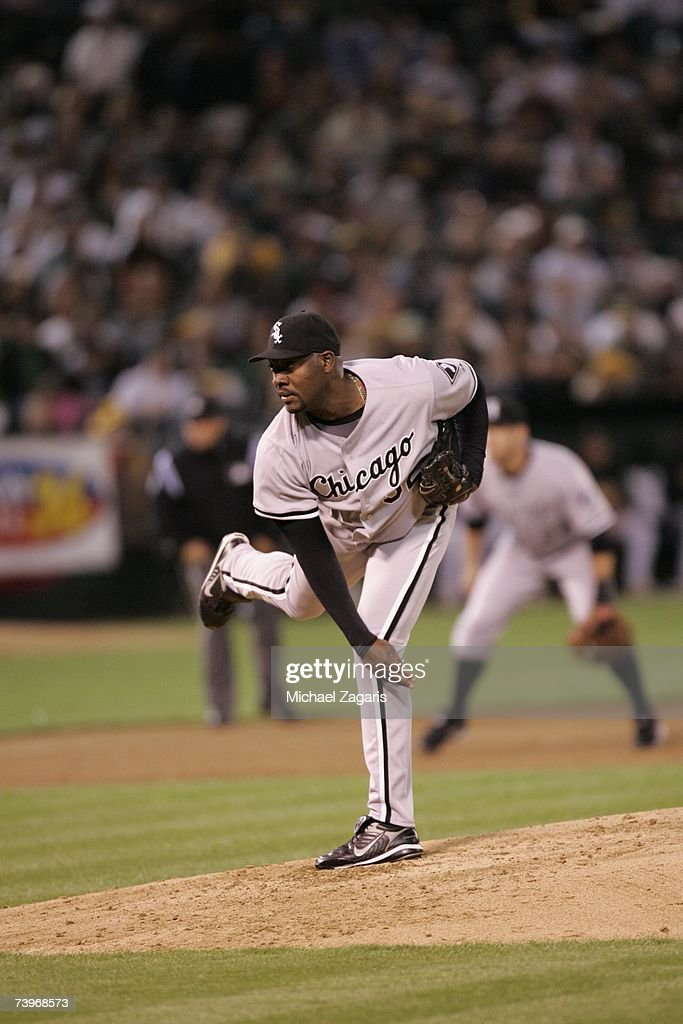 Jose Contreras of the Chicago White Sox pitches during the game against the Oakland Athletics on MLB Opening Night at the McAfee Coliseum in Oakland, California on April 9, 2007. The White Sox defeated the Athletics 4-1.