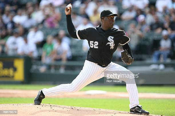 Jose Contreras of the Chicago White Sox pitches during the game against the Minnesota Twins at US Cellular Field in Chicago Illinois on September 8...