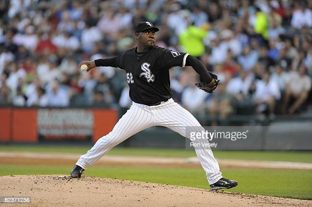 Jose Contreras of the Chicago White Sox pitches during the game against the Boston Red Sox at US Cellular Field in Chicago Illinois on August 9 2008...