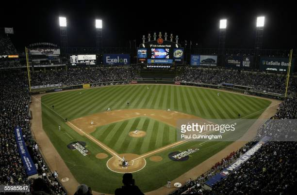 Jose Contreras of the Chicago White Sox throws the first pitch during Game One of the Major League Baseball World Series between the Chicago White...