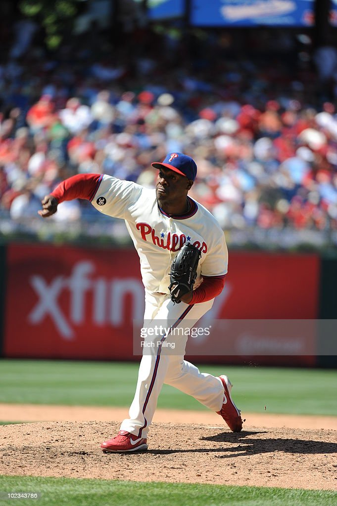 Jose Contreras of the Philadelphia Phillies pitches during the game against the Chicago Cubs at Citizens Bank Park in Philadelphia, Pennsylvania on May 20, 2010. The Phillies defeated the Cubs 5-4.