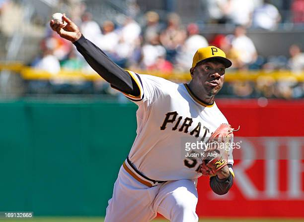 Jose Contreras of the Pittsburgh Pirates pitches against the Washington Nationals during the game on May 5 2013 at PNC Park in Pittsburgh Pennsylvania