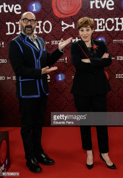 Jose Corbacho and Anabel Alonso attend the 'Dicho y hecho' program presentation at Colliseum theatre on March 5 2018 in Madrid Spain