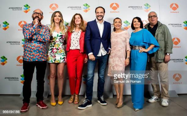 Jose Corbacho, Anna simon, Roberto Vilar, Silvia Abril and Leo Harlem attend during 'La Noche de Rober' Tv Show Presentation on May 9, 2018 in...