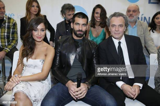 Jose Coronado Hiba Abouk and Rubén Cortada  attend the News conference of the new tv series 'El Principe' on January 31 2014 in Madrid Spain