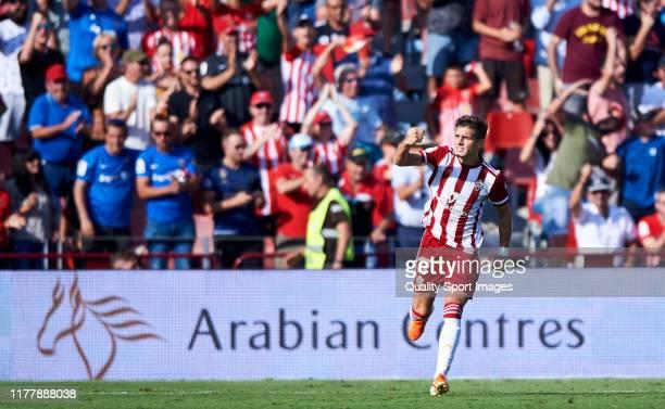 Jose Corpas of UD Almeria celebrates scoring his team's goal during the La Liga SmartBank match between UD Almeria and Cadiz at Estadio de los Juegos...