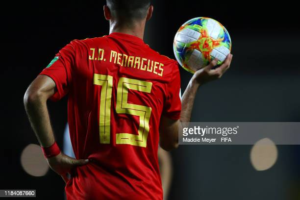 Jose David Menargues of Spain prepares to take a throw in during the FIFA U17 World Cup Brazil 2019 group E match between Spain and Argentina at...