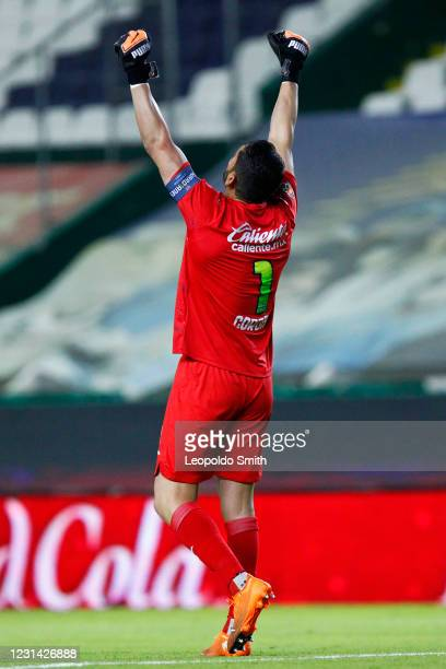 Jose de Jesus Corona goalkeeper of Cruz Azul celebrates after the first goal of his team during the 8th round match between Leon and Cruz Azul as...