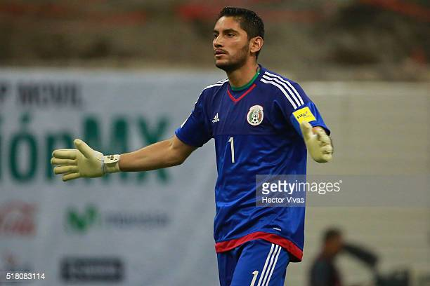 Jose de Jesus Corona goalkeeper of Mexico celebrates after the first goal of his team during the match between Mexico and Canada as part of the FIFA...