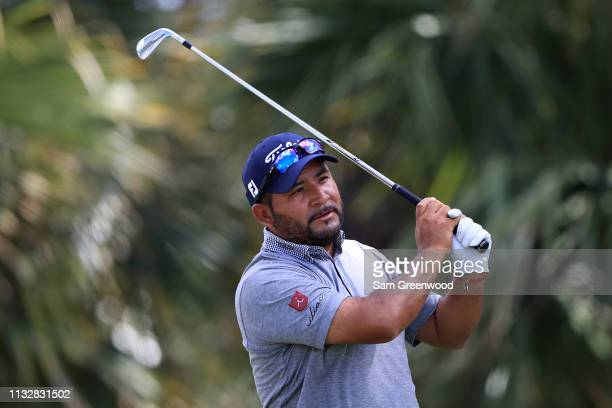 Jose de Jesus Rodriguez of Mexico plays his shot from the seventh tee during the first round of the Honda Classic at PGA National Resort and Spa on...