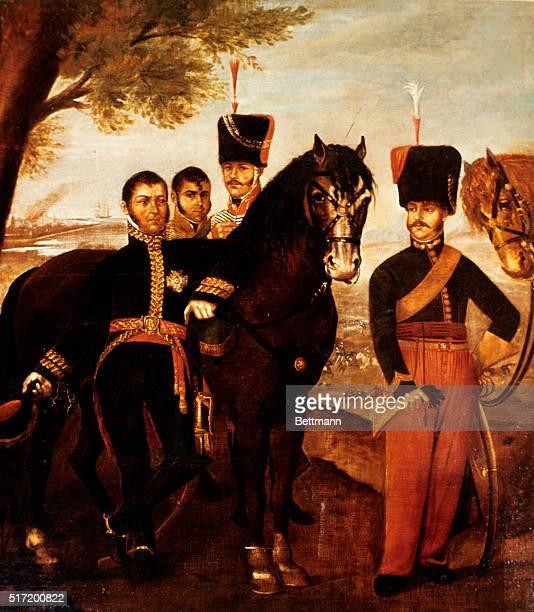 Jose De San Martin and staff Anonymous painting 19th century