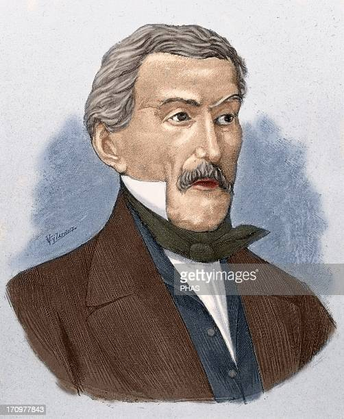 Jose de San Martin Argentine politician and military hero of American independence called 'The Liberator' Colored engraving From 'Famous Americans'
