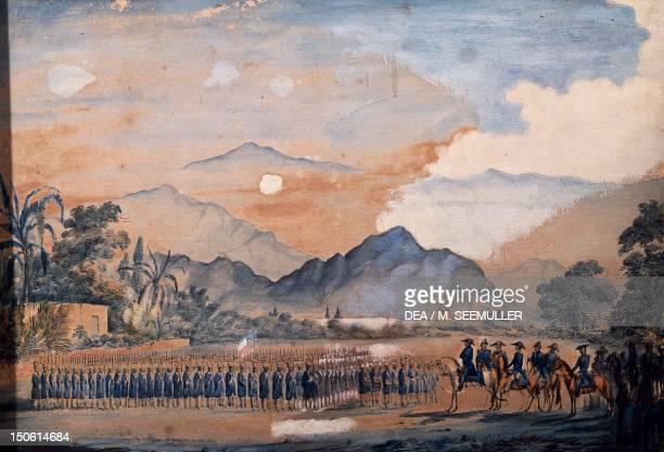 Jose De San Martin delivering the freedom flag to the Numancia battalion in Huaura watercolour by General O 'Higgins Peru 19th century