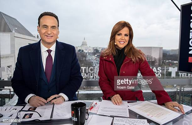 Jose DiazBalart and Maria Celeste Arraras participate in the Telemundo 2017 Presidential Inauguration broadcast at The Newseum on January 20 2017 in...